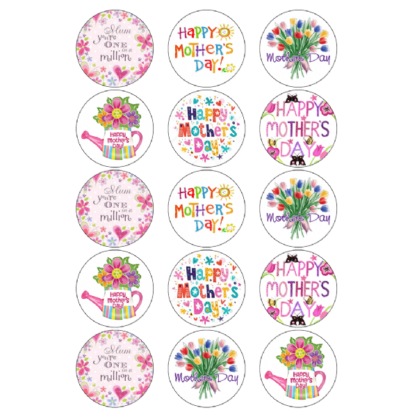 HAPPY MOTHERS DAY EDIBLE CUPCAKE TOPPERS